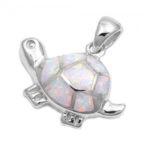 925 Sterling Silver Charm Pendant White Lovely Opal Turtle - SilverMania925