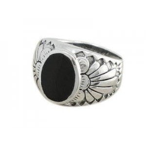 925 Sterling Silver Mens Black Onyx Indian Native American Thick Ring - SilverMania925