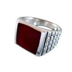925 Sterling Silver Unisex Genuine Carnelian Engraved Sides Ring 8gr - SilverMania925