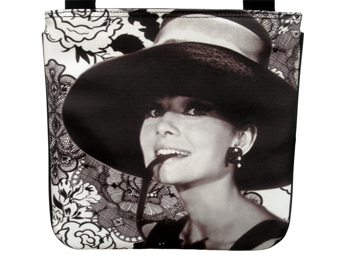 Audrey Hepburn Filigree Flower Rare Messenger Cross Body Sling Bag Purse
