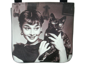 Audrey Hepburn Holding Cat Rare Messenger Cross Body Sling Bag Purse