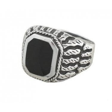 925 Sterling Silver Men's Exotic Scrollwork Black Genuine Onyx Thick Ring - SilverMania925