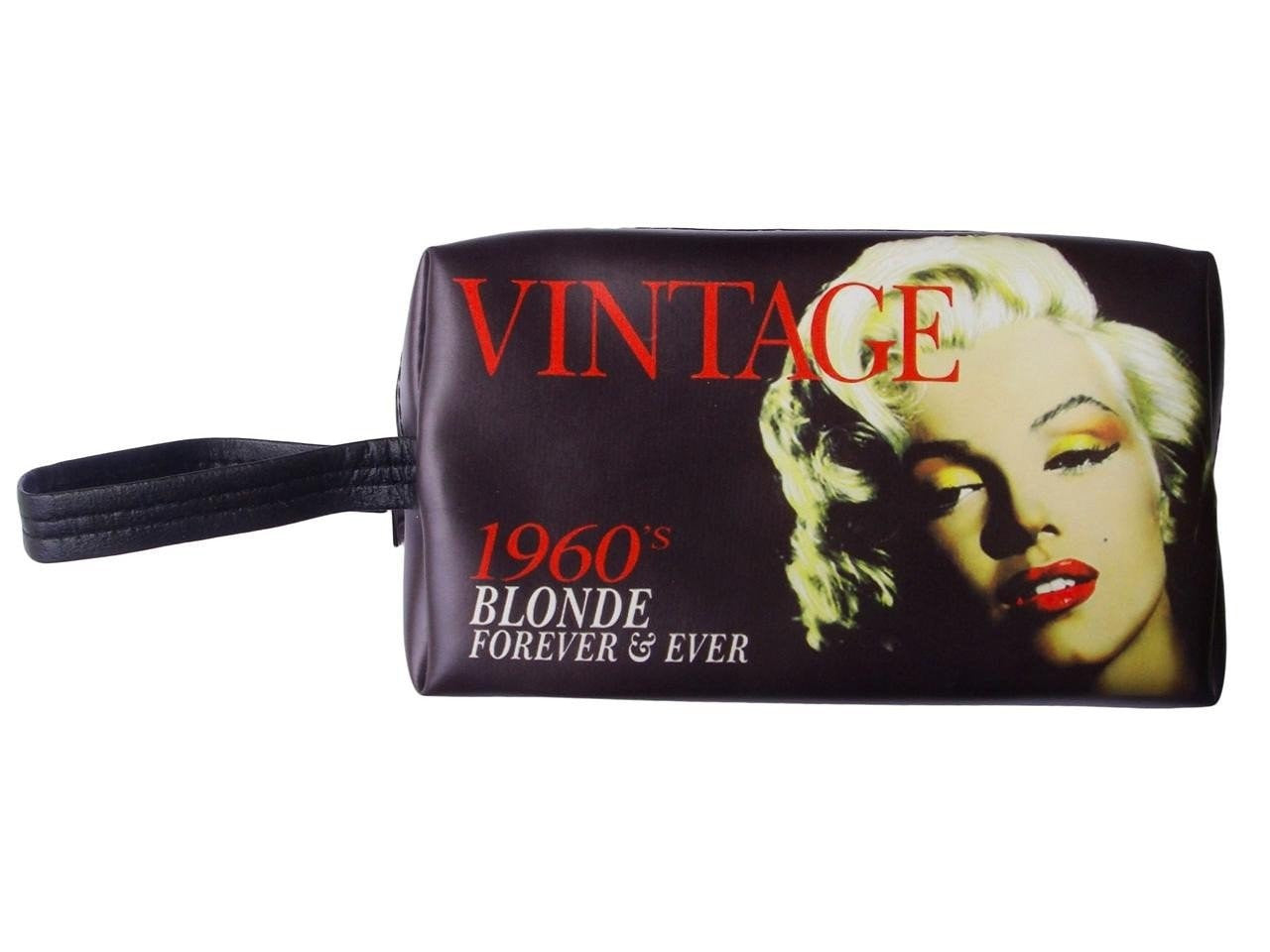 Marilyn Monroe Vintage Makeup Make Up Lipstick Purse Cosmetic Zip Around Bag