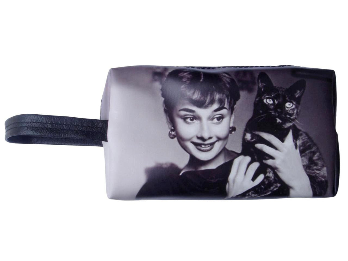Audrey Hepburn Holding Cat Makeup Make Up Lipstick Purse Cosmetic Zip Around Bag