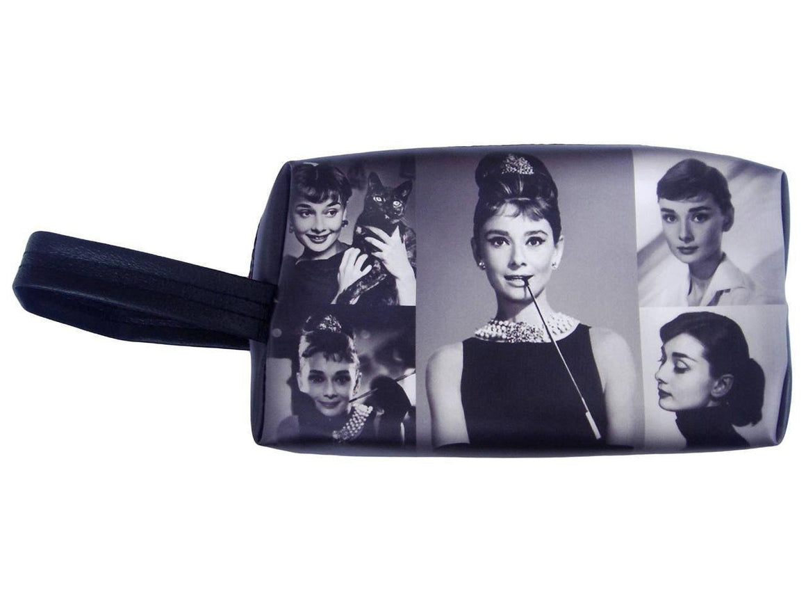 Audrey Hepburn Photo Picture Collage Make Up Lipstick Purse Cosmetic Zip Around Bag