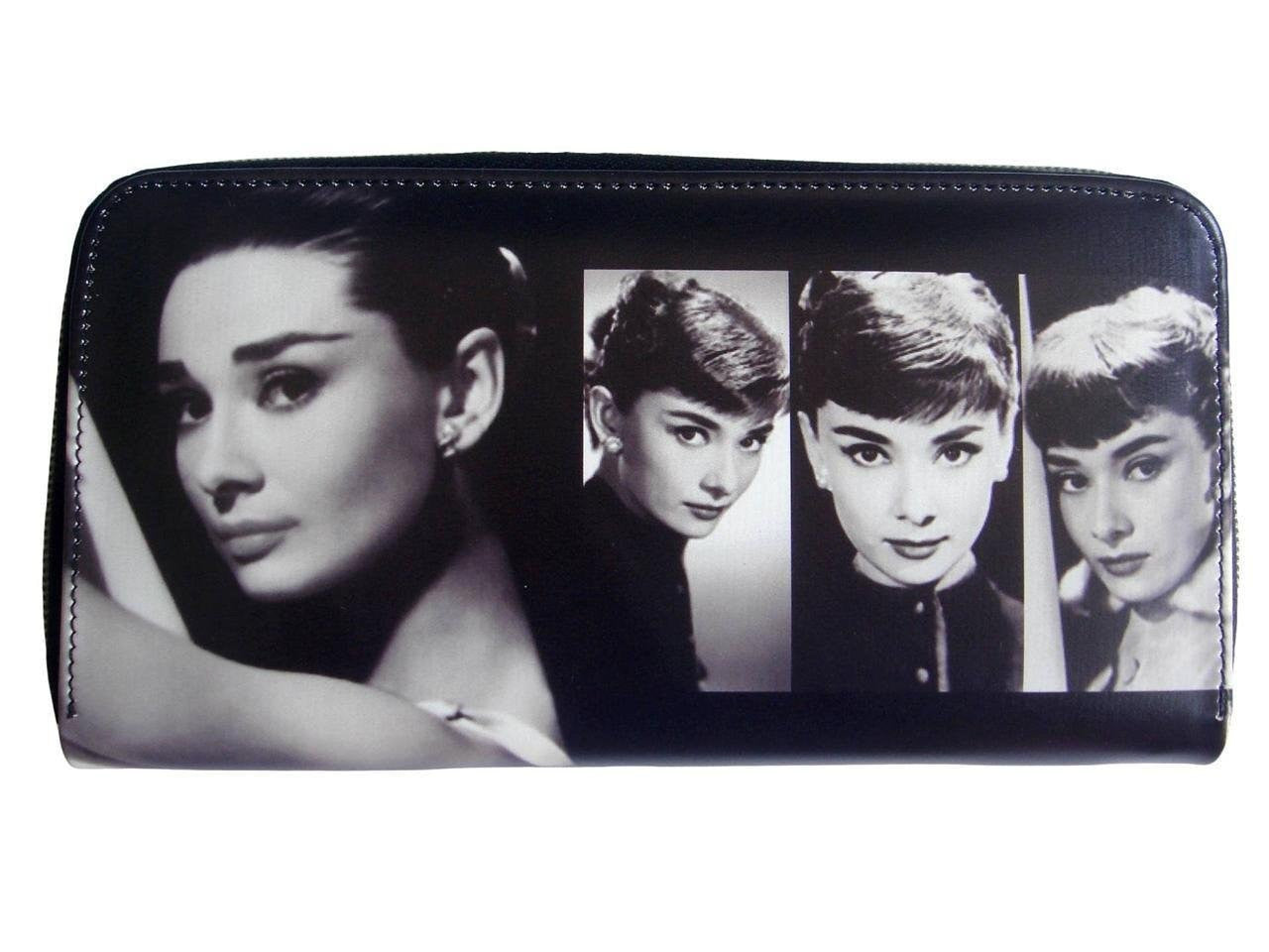 Audrey Hepburn Signature Photo Collage Travel Wallet ID Holder Bag