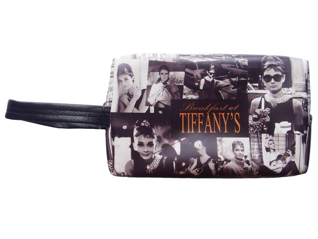 Audrey Hepburn Retro Picture Collage Make Up Lipstick Purse Cosmetic Zip Around Bag