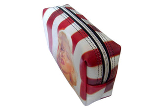 Marilyn Monroe Red Lip Retro Make Up Lipstick Purse Cosmetic Zip Around Bag