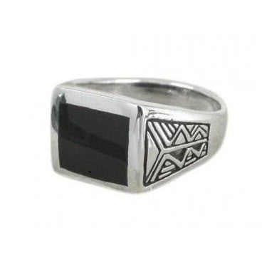 925 Sterling Silver Men's Aztec Style Rectangular Black Genuine Onyx Ring - SilverMania925