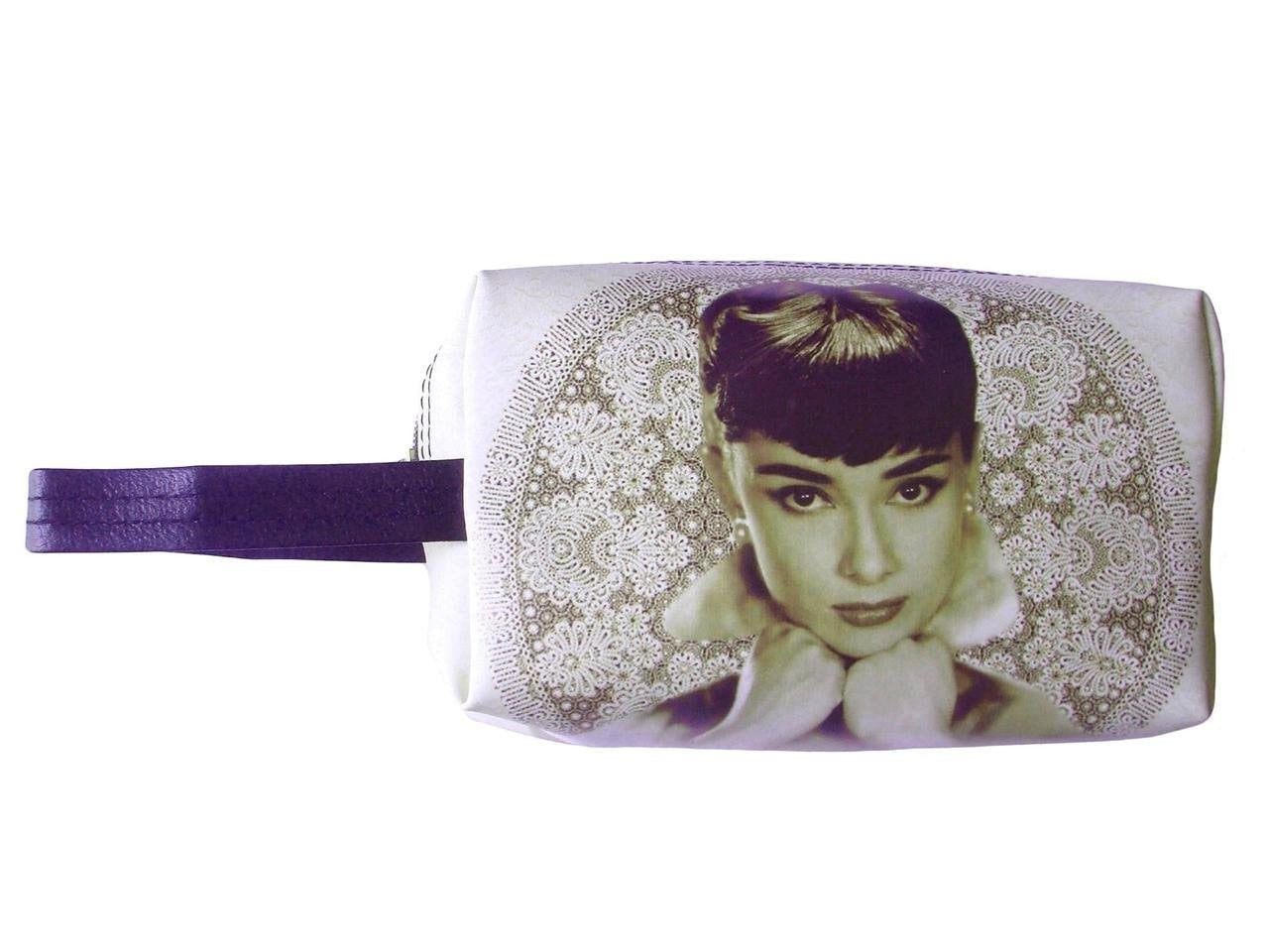 Audrey Hepburn Retro Rare Make Up Lipstick Purse Cosmetic Zip Around Bag