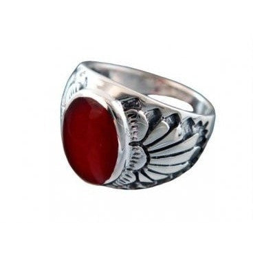 925 Sterling Silver Mens Genuine Carnelian Exotic Indian Motif Thick Ring - SilverMania925