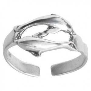 925 Sterling Silver Twin Dolphins Adjustable Pinky Toe Ring - SilverMania925