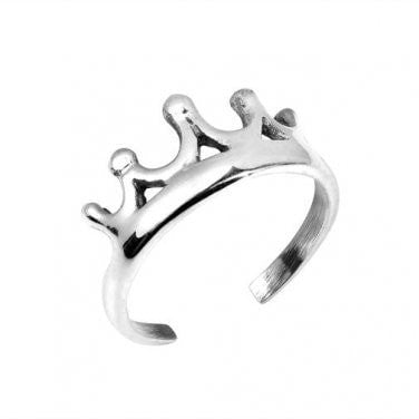 925 Sterling Silver Crown Design Adjustable Pinky Toe Ring - SilverMania925