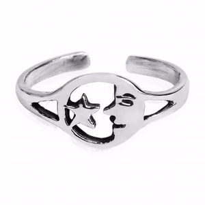925 Sterling Silver Goodnight Moon Face Star Adjustable Pinky Toe Ring - SilverMania925