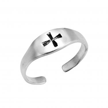 925 Sterling Silver Cross Oxidized Adjustable Pinky Toe Ring - SilverMania925