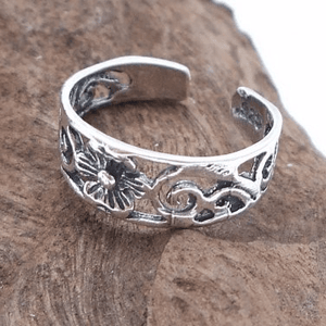 925 Sterling Silver Flower Swirl Filigree Oxidized Adjustable Pinky Toe Ring