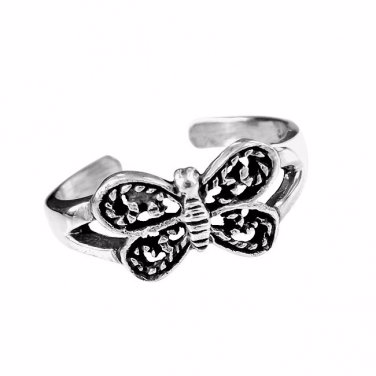 925 Sterling Silver Butterfly Oxidized Adjustable Pinky Toe Ring - SilverMania925