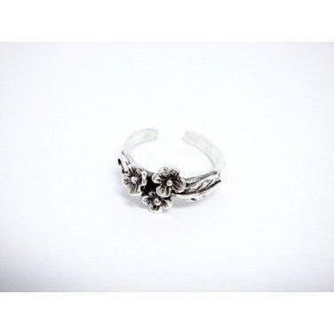 925 Sterling Silver Flowers Oxidized Adjustable Pinky Toe Ring - SilverMania925