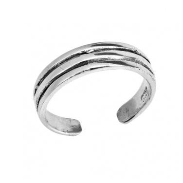 925 Sterling Silver Triple Band Oxidized Adjustable Pinky Toe Ring - SilverMania925