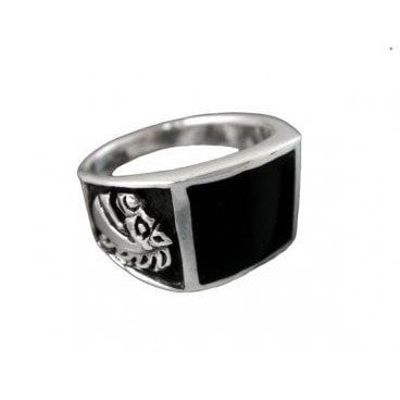 925 Sterling Silver Men's Black Onyx Engraved Horse Pony Ring - SilverMania925