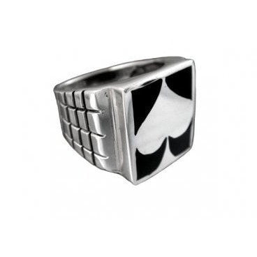 925 Sterling Silver Man's Spade Motif Card Game Ring 14gr - SilverMania925