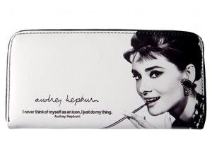 Audrey Hepburn Retro Cinema Actress Icon Signature White Wallet Bag - SilverMania925
