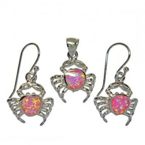 925 Silver Pendant Dangle Earrings Set Pink Opal Crab - SilverMania925