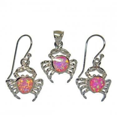 925 Sterling Silver Pink Fire Opal Crab Pendant Dangle Earrings Set - SilverMania925