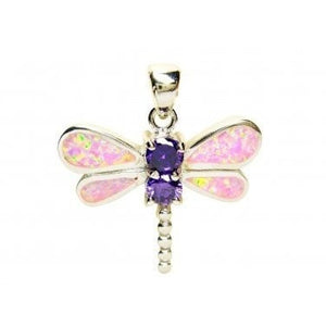 925 Sterling Silver Pink Opal Cubic Zirconia Dragonfly Charm Pendant - SilverMania925
