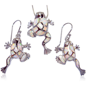 925 Sterling Silver Pendant Dangle Earrings Set White Opal Frog - SilverMania925