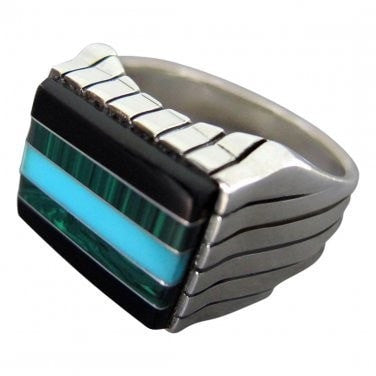 925 Sterling Silver Mens Stone Set Onyx Malachite Turquoise Thick Ring - SilverMania925
