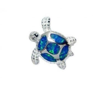 925 Sterling Silver Pendant Hawaiian Blue Opal Sea Turtle - SilverMania925