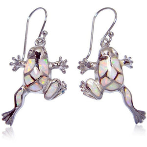925 Sterling Silver Dangle Earrings Set White Fire Opal Frog - SilverMania925