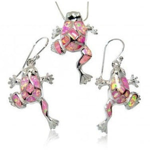 925 Sterling Silver Pink Mosaic Opal Lucky Frog Pendant Earrings Set - SilverMania925