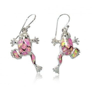 925 Sterling Silver Dangle Earrings Set Pink Fire Opal Frog - SilverMania925