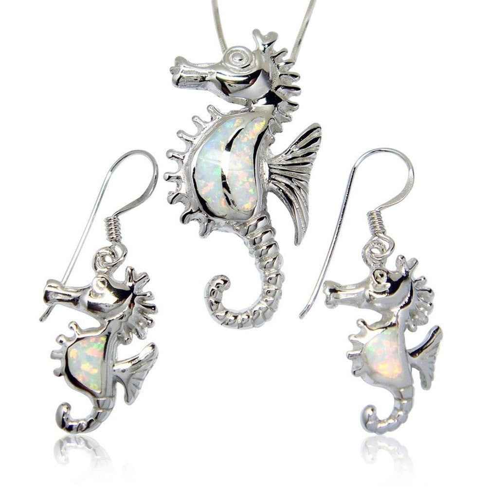 925 Sterling Silver White Opal Seahorse Pendant Earrings Set