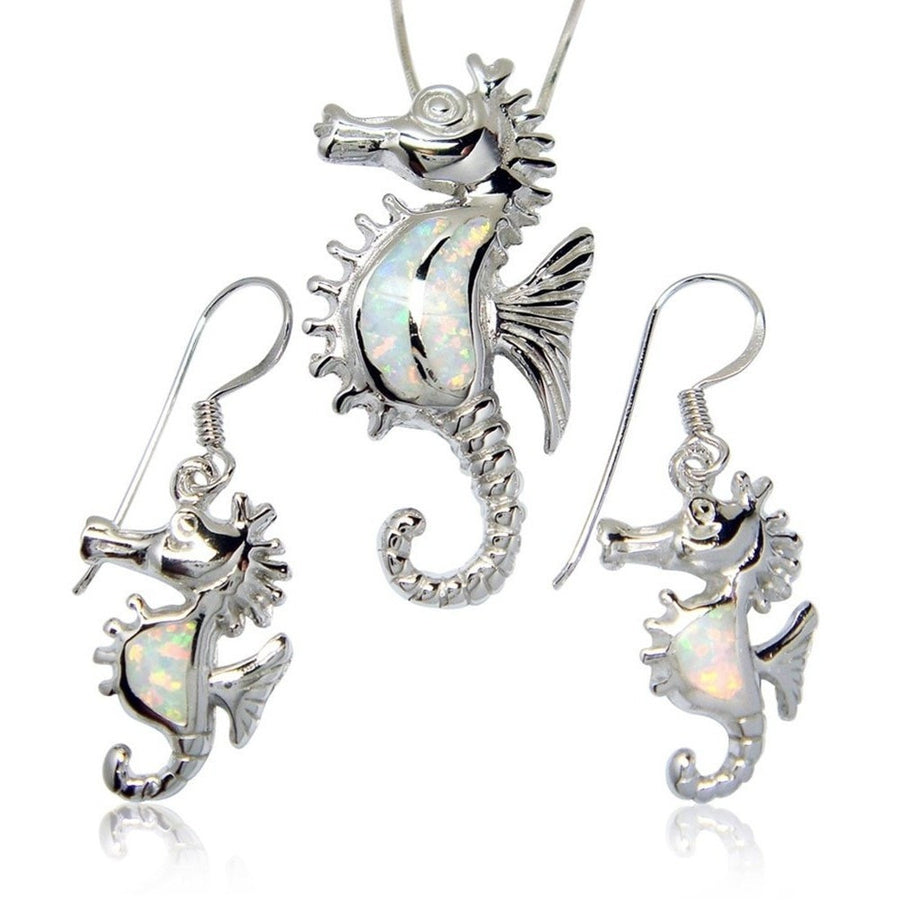 925 Sterling Silver White Opal Seahorse Pendant Earrings Set - SilverMania925