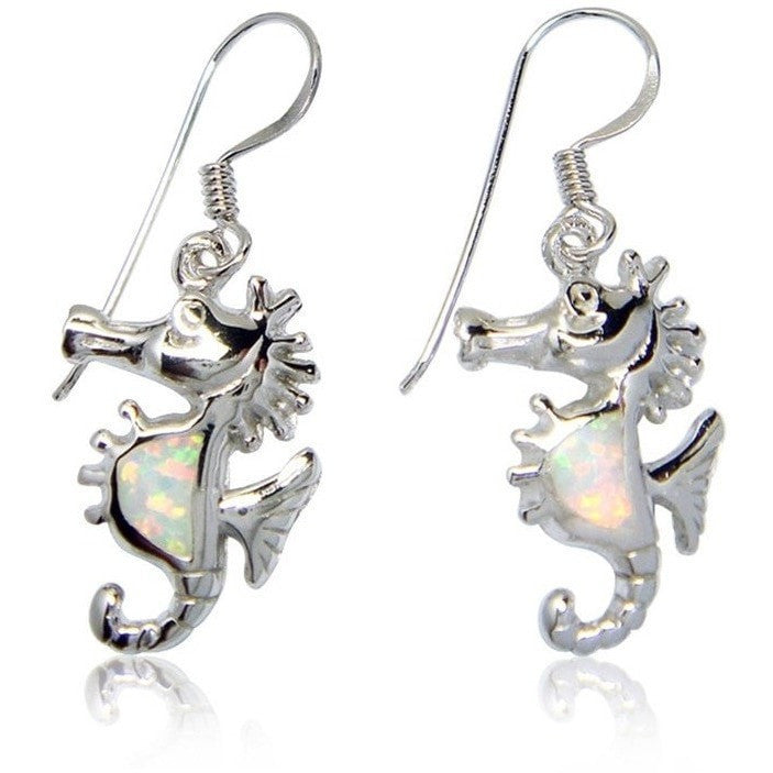 925 Sterling Silver White Opal Seahorse Sea Dangle Earrings - SilverMania925