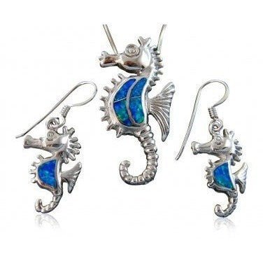 925 Sterling Silver Blue Opal Seahorse Pendant Earrings Set - SilverMania925