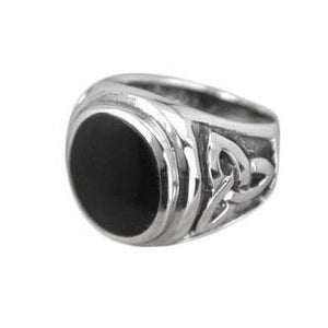 925 Sterling Silver Mans Oval Onyx Celtic Triquetra Trinity Knot Ring - SilverMania925