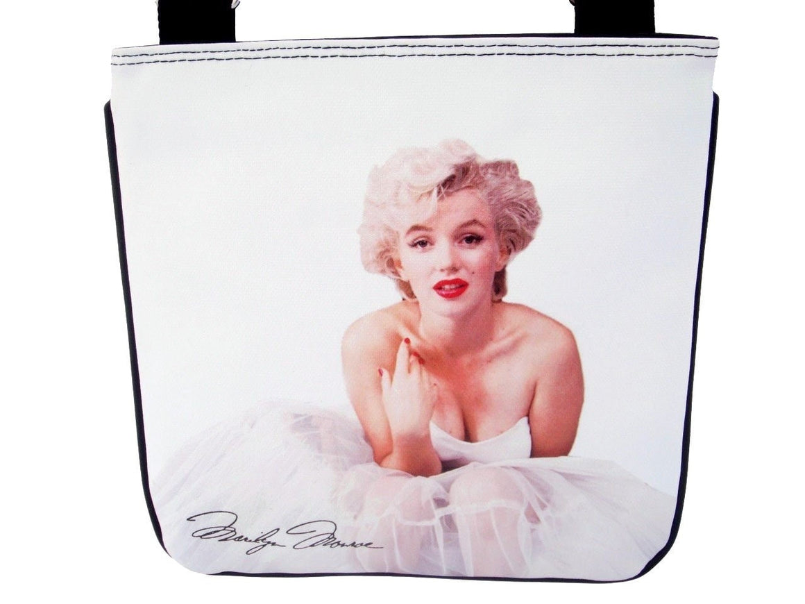 Marilyn Monroe Blonde Ballerina White Shoulder Sling Bag Purse