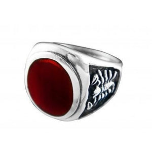 925 Sterling Silver Men's Oval Carnelian Engraved Scorpion Ring - SilverMania925