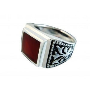 925 Sterling Silver Mens Square Carnelian Celtic Engraved Side Ring - SilverMania925