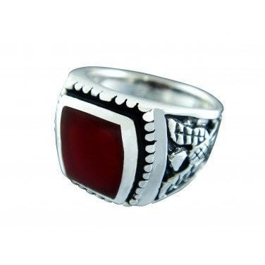 925 Sterling Silver Men's German Eagle Carnelian Ring - SilverMania925