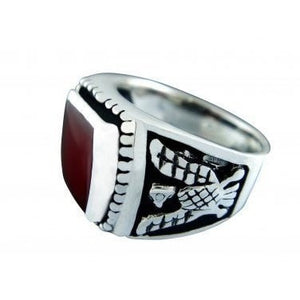925 Sterling Silver Men's German Eagle Carnelian Ring
