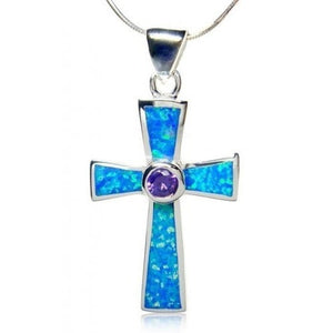 925 Sterling Silver Cross Pendant Hawaiian Blue Opal & CZ - SilverMania925