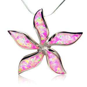 925 Sterling Silver Pink Fire Opal Starfish Flower Big Charm Pendant - SilverMania925