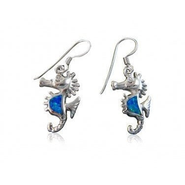925 Sterling Silver Hawaiian Blue Fire Opal Seahorse Sea Life Dangle Earrings Set - SilverMania925