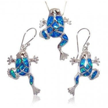 925 Sterling Silver Blue Mosaic Opal Lucky Frog Pendant Earrings Set - SilverMania925