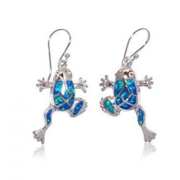 925 Sterling Silver Dangle Earrings Set Hawaiian Blue Opal Frog - SilverMania925